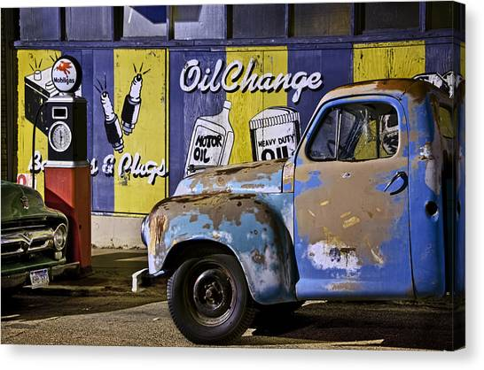 Vintage Blue Pickup And Gas Station Near Bisbee Az Canvas Print