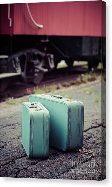 Old Caboose Canvas Print - Vintage Blue Suitcases With Red Caboose by Edward Fielding