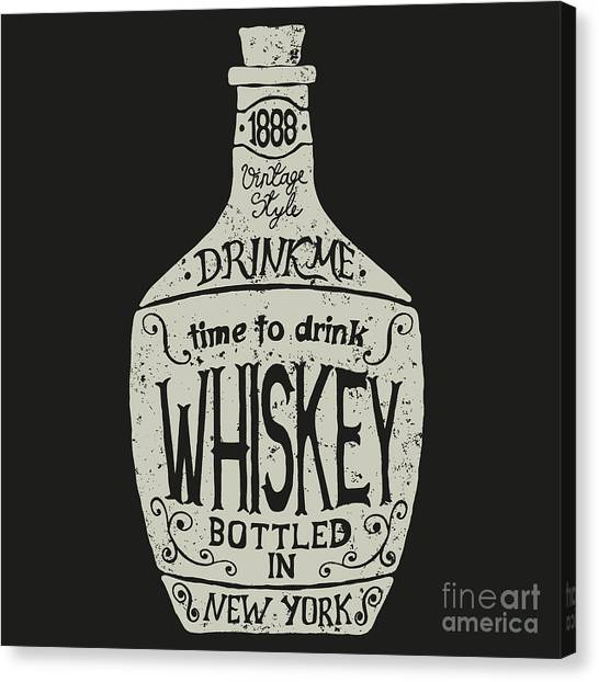 Bourbon Canvas Print - Vintage  Bottle Of Whiskey With by Dimonika
