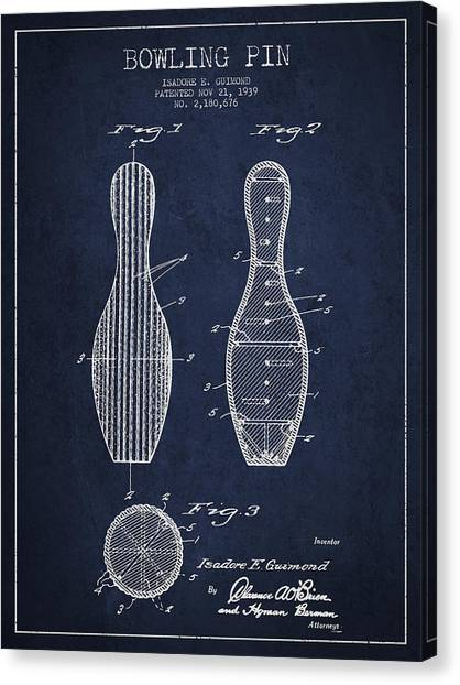 Bowling Pins Canvas Print - Vintage Bowling Pin Patent Drawing From 1939 by Aged Pixel