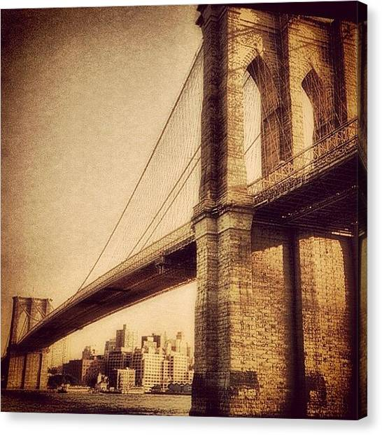 Landmarks Canvas Print - Vintage Brooklyn Bridge.  #brooklyn by Joann Vitali