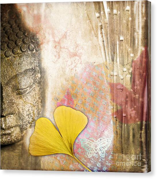 Korean Canvas Print - Vintage Buddha And Ginkgo by Delphimages Photo Creations