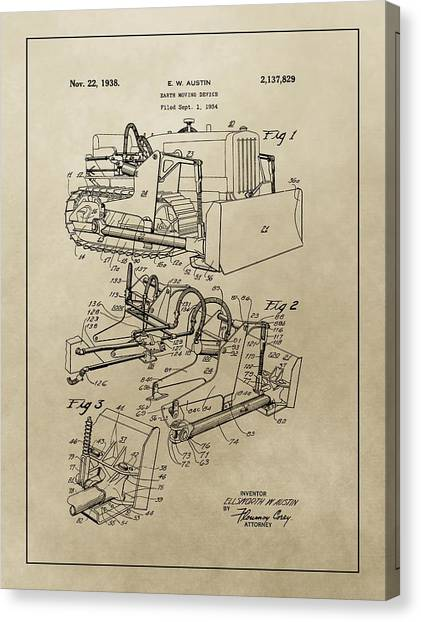 Bulldozers Canvas Print - Vintage Bulldozer Patent by Dan Sproul
