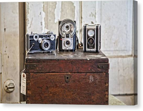 Vintage Cameras At Warehouse 54 Canvas Print