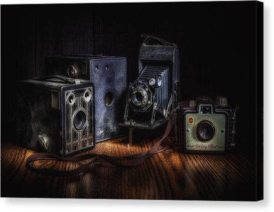 Flash Canvas Print - Vintage Cameras Still Life by Tom Mc Nemar