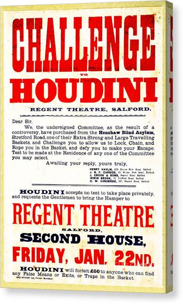 Vintage Challenge Houdini Poster Canvas Print by Wingsdomain Art and Photography