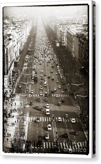 Vintage Champs Elysees Canvas Print by John Rizzuto