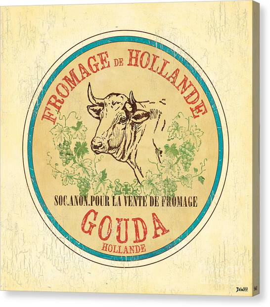 Cow Farms Canvas Print - Vintage Cheese Label 1 by Debbie DeWitt
