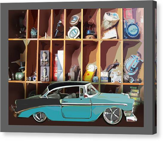 Vintage Chevy Belair With Retro Auto Parts Canvas Print
