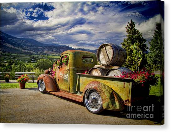 Wine Barrels Canvas Print - Vintage Chevy Truck At Oliver Twist Winery by David Smith