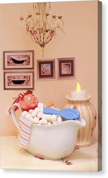 Vintage Christmas Elf Bubble Bath Canvas Print