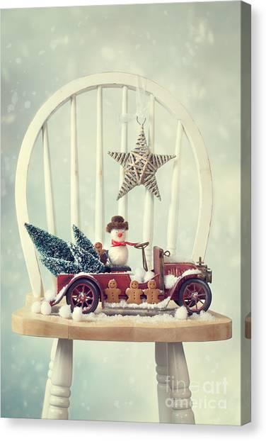 Snowball Canvas Print - Vintage Christmas Truck by Amanda Elwell