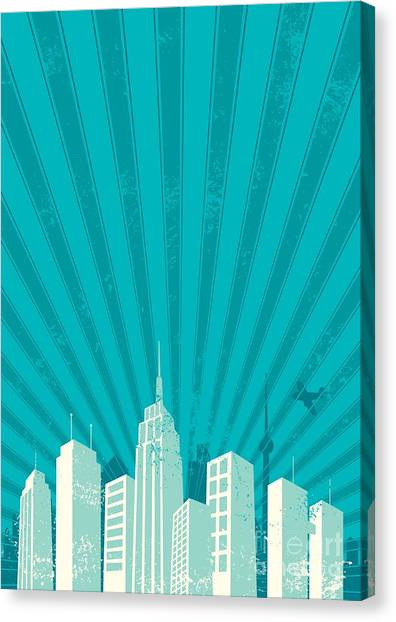 Beam Canvas Print - Vintage City Background. A4 Proportions by Malchev