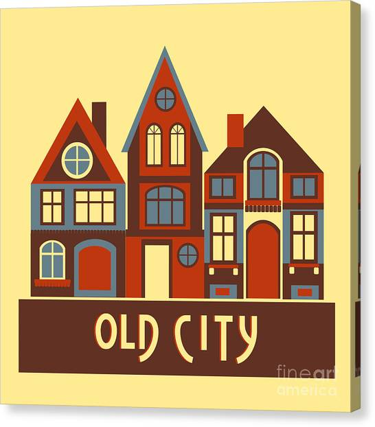 Vintage City Houses On Yellow Background Canvas Print by Okhristy