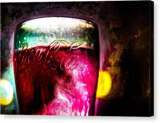 Coca Cola Canvas Print - Vintage Coca Cola Glass With Ice by Bob Orsillo