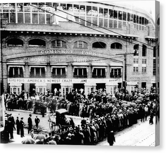Chicago White Sox Canvas Print - Vintage Comiskey Park - Historical Chicago White Sox Black White Picture by Horsch Gallery