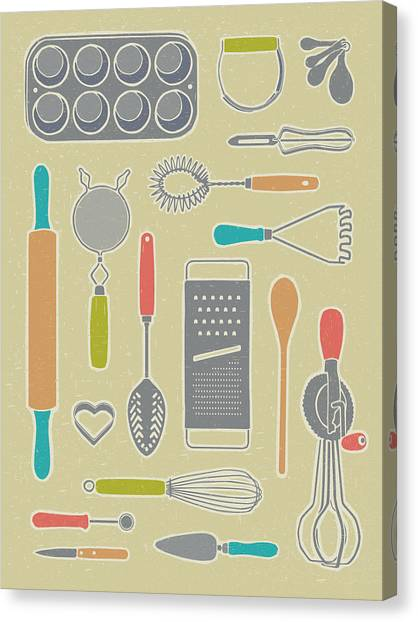 Cakes Canvas Print - Vintage Cooking Utensils by Mitch Frey