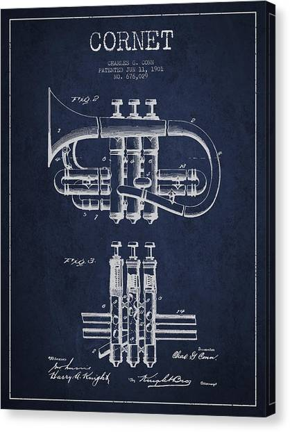Brass Instruments Canvas Print - Cornet Patent Drawing From 1901 - Blue by Aged Pixel