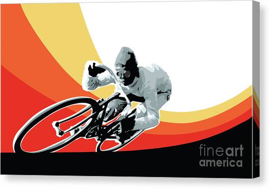 Canvas Print featuring the digital art Vintage Cyclist With Colored Swoosh Poster Print Speed Demon by Sassan Filsoof