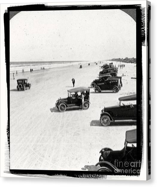 Nascar Canvas Print - Vintage Daytona Beach Florida by Edward Fielding