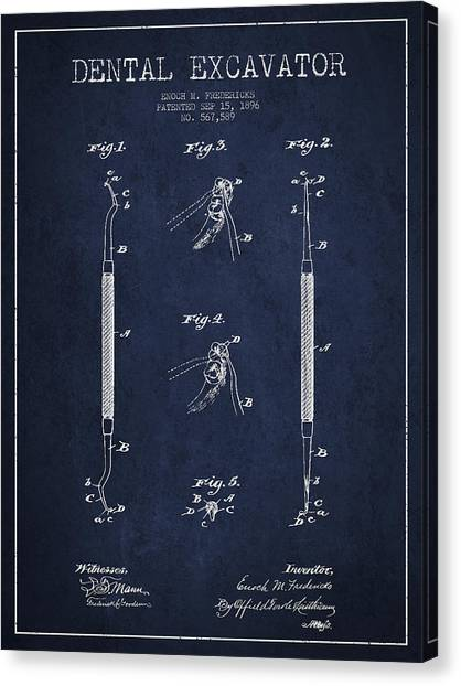 Excavators Canvas Print - Vintage Dental Excavator Patent Drawing From 1896 - Navy Blue by Aged Pixel