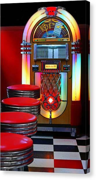 Jukebox Canvas Print - Vintage Diner by Nikolyn McDonald