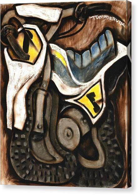 Dirt Bikes Canvas Print - Tommervik Abstract Vintage Dirt Bike Art Print by Tommervik