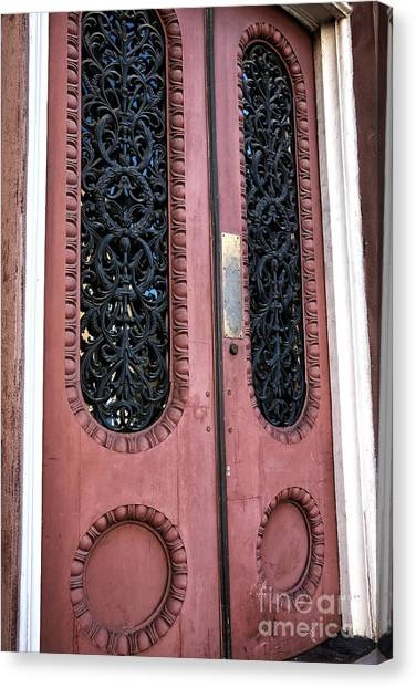 Red School House Canvas Print - Vintage Doors In Charleston by John Rizzuto