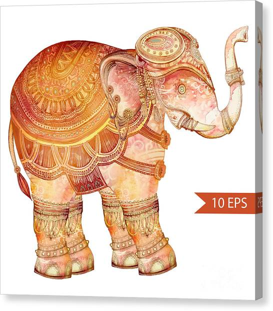 Vintage Elephant Illustration. Hand Canvas Print by Polina Lina