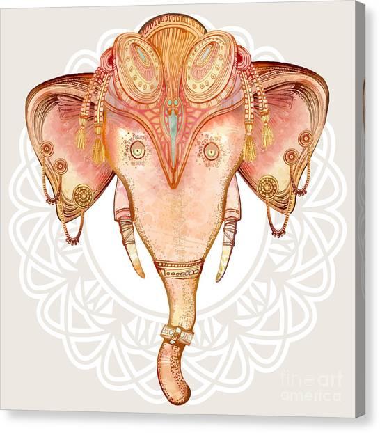 Vintage Elephant Illustration.hand Draw Canvas Print by Polina Lina