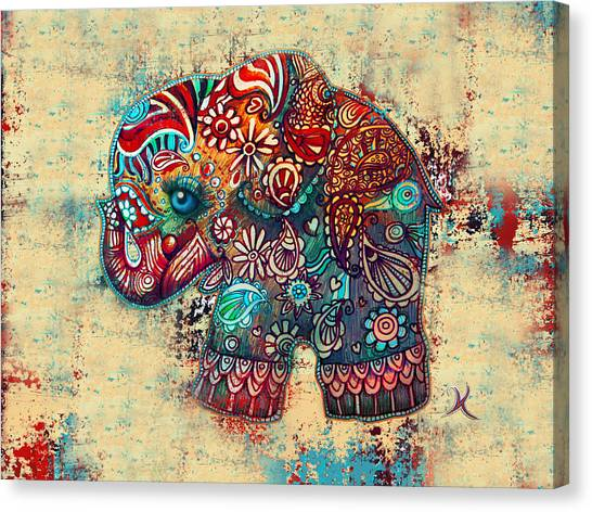 Elephants Canvas Print - Vintage Elephant by Karin Taylor