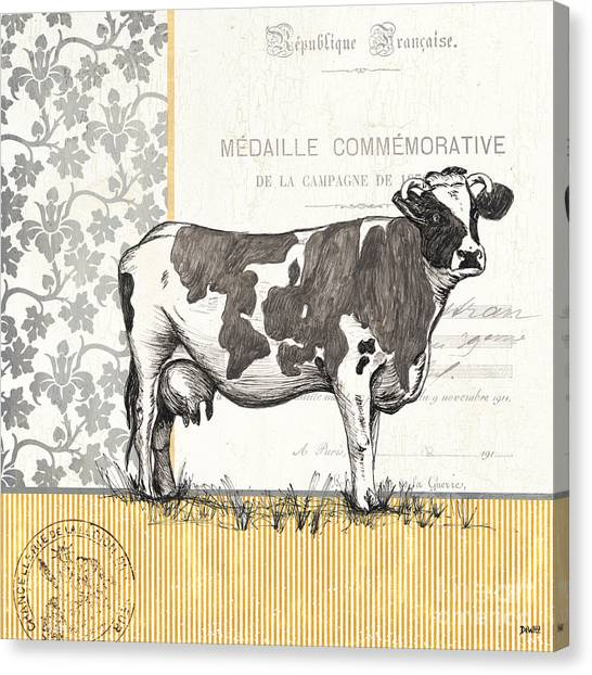 Cow Farms Canvas Print - Vintage Farm 1 by Debbie DeWitt
