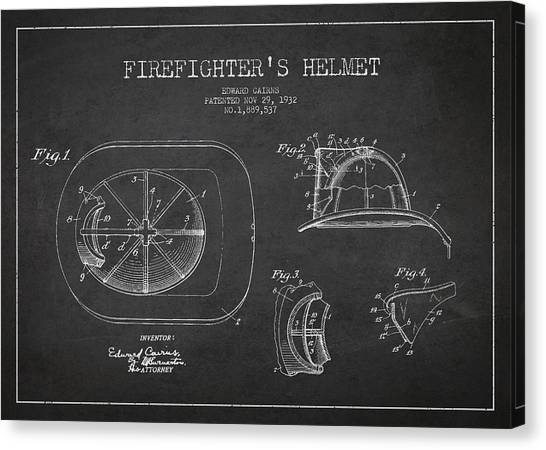 Firefighters Canvas Print - Vintage Firefighter Helmet Patent Drawing From 1932 by Aged Pixel