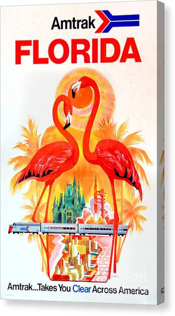 Flamingos Canvas Print - Vintage Florida Amtrak Travel Poster by Jon Neidert