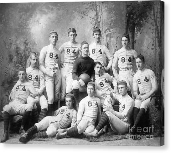 Football Canvas Print - Vintage Football Circa 1900 by Jon Neidert