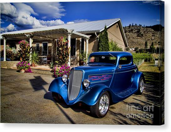 Okanagan Valley Canvas Print - Vintage Ford Coupe At Oliver Twist Winery by David Smith