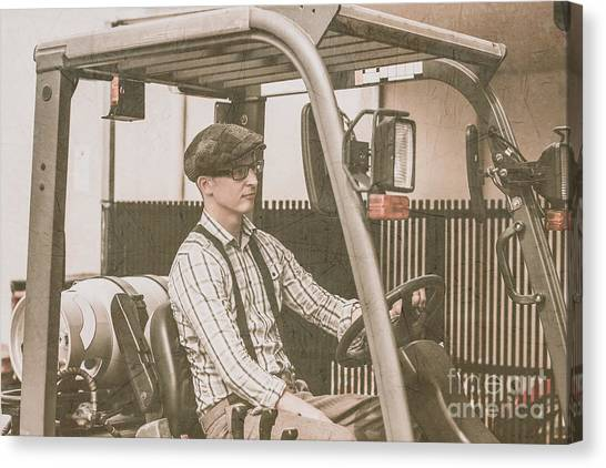 Forklifts Canvas Print - Vintage Forklift Driver by Jorgo Photography - Wall Art Gallery
