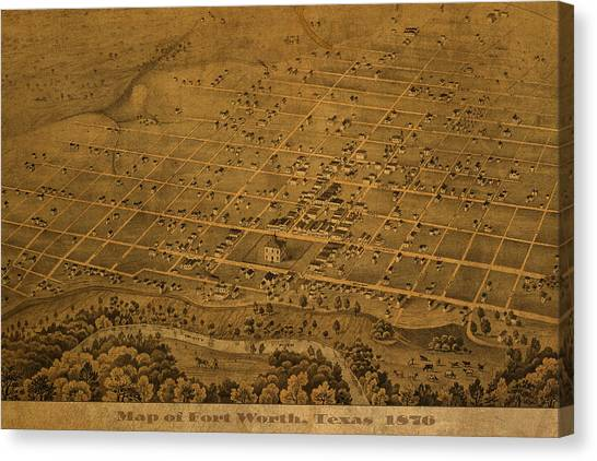 1876 Canvas Print - Vintage Fort Worth Texas In 1876 City Map On Worn Canvas by Design Turnpike