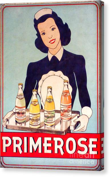 Selection Canvas Print - Vintage French Tin Sign Primerose by Olivier Le Queinec