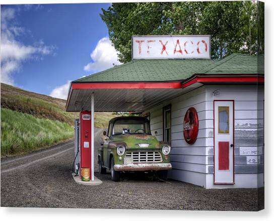 Rusty Truck Canvas Print - Vintage Gas Station - Chevy Pick-up by Nikolyn McDonald