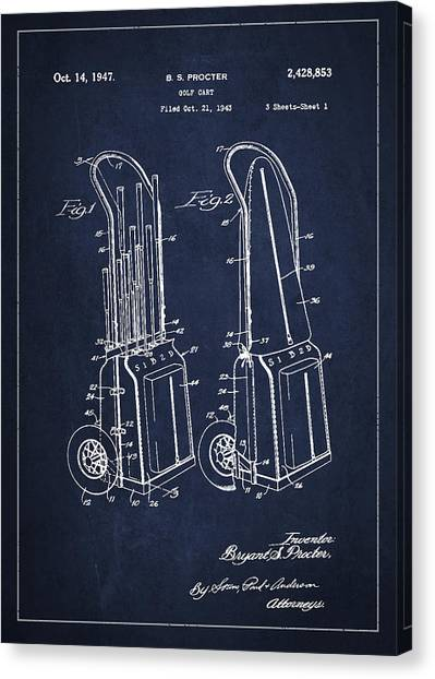 Carts Canvas Print - Vintage Golf Cart Drawing From 1943 by Aged Pixel