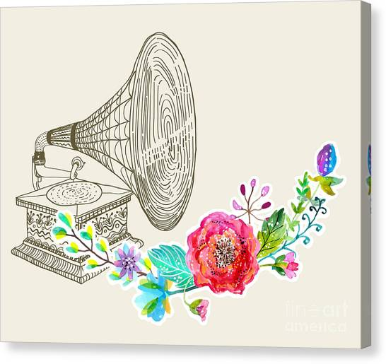 Notes Canvas Print - Vintage Gramophone, Record Player by Jane mori