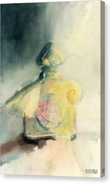 Lounge Canvas Print - Vintage Guerlain Mitsouko Perfume Bottle by Beverly Brown Prints