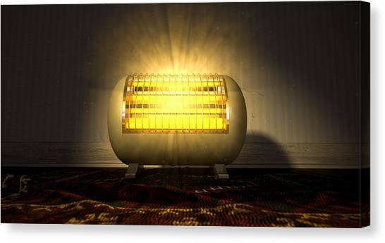 Indoors Canvas Print - Vintage Heater On Persian Carpet by Allan Swart