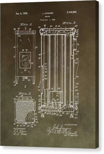 Workers Canvas Print - Vintage Heater Patent by Dan Sproul