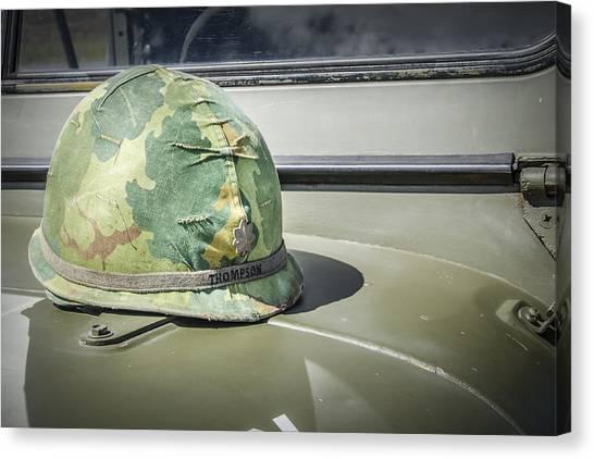 Vintage Helmet On Jeep Hood Canvas Print