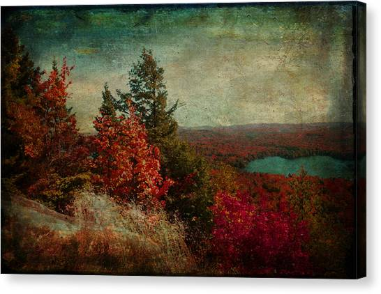 Vintage Inspired Adirondack Mountains In Fall Colors Canvas Print