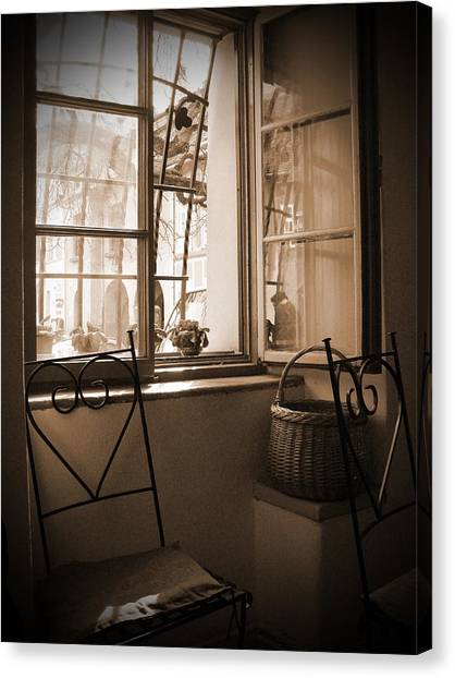 Vintage Interior With A Wooden Framed Window Canvas Print