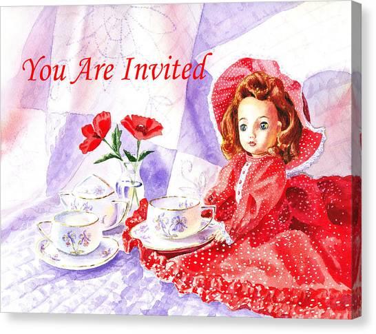 Tea Set Canvas Print - Vintage Invitation by Irina Sztukowski