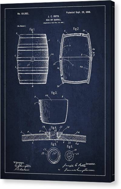 Keg Canvas Print - Vintage Keg Or Barrel Patent Drawing From 1898 - Navy Blue by Aged Pixel